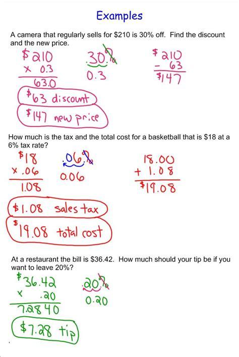 Tax And Tip Worksheet by Discount Sales Tax Tip 7th Grade Pre Algebra Mr Burnett