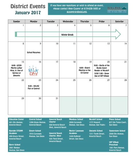 Bay District Schools Calendar Here Are Your January 2017 District Events Calendar For