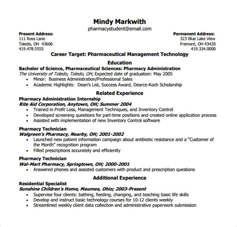 Hospital Pharmacy Technician Resume by 9 Sle Pharmacy Technician Resumes To Sle