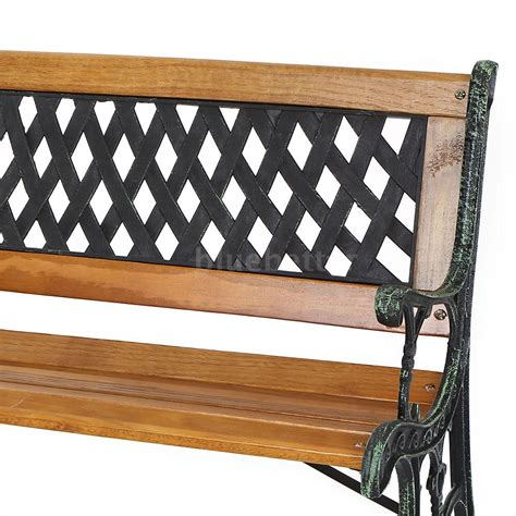 cast iron park bench legs ikayaa 126cm wood outdoor patio park bench garden