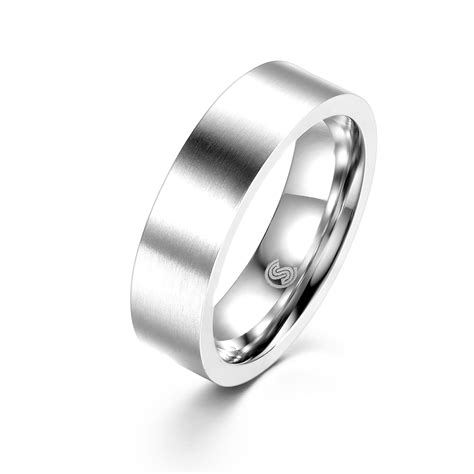 mens rings stainless steel wedding band with frosting
