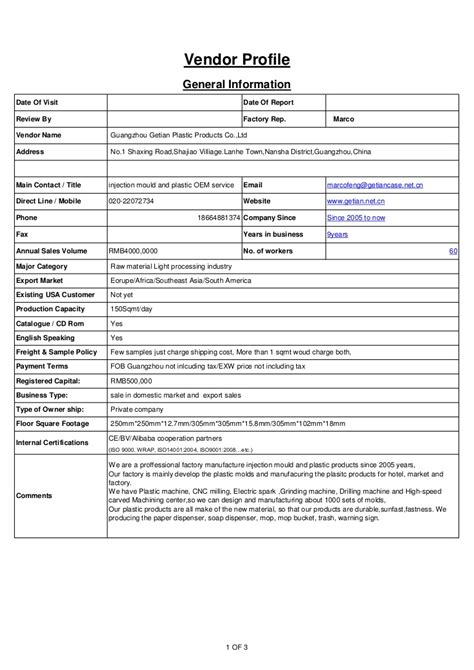Factory Visit Report Template