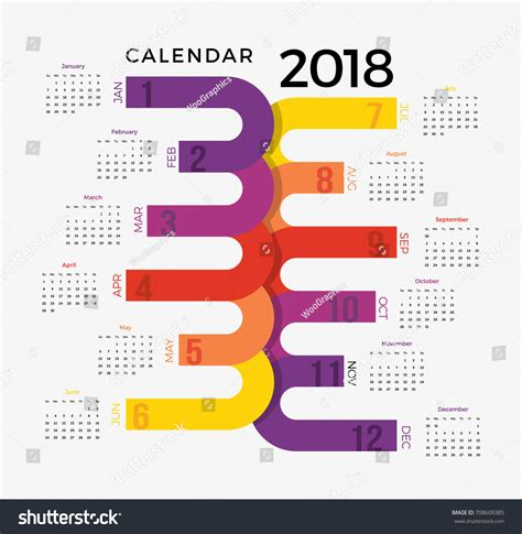 design new year calendar 2018 calendar template colorful illustrative happy stock