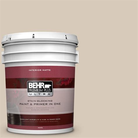 behr premium plus ultra 5 gal ppu5 12 almond wisp flat matte interior paint 175005 the home