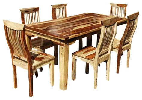 rustic dining sets rustic solid wood 7 dining set table and 6 chairs rustic dining sets by
