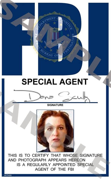portrait id card template x files special scully portrait id card