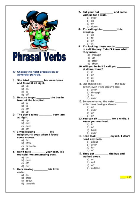 Elementary Worksheets by Phrasal Verbs Elementary Worksheet