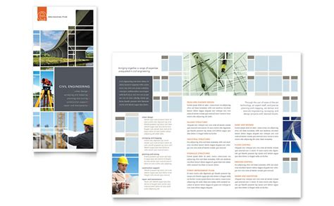 engineering brochure templates civil engineers tri fold brochure template design