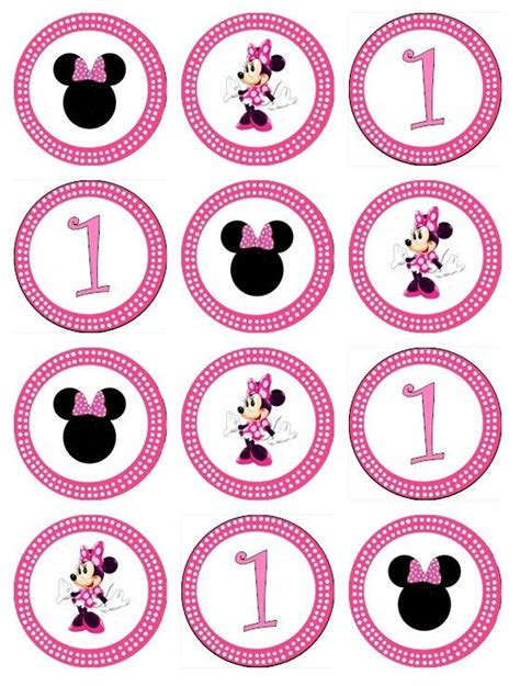 Edible Minnie Mouse Cupcake Toppers Images For Cupcakes Party Pinterest Cupcake Toppers Edible Label Template