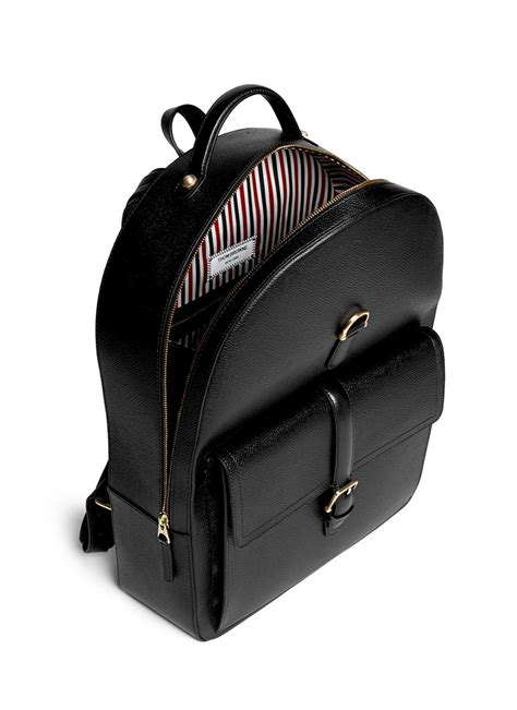 Backpack Thom Browne thom browne stripe lining grainy leather backpack in black for lyst
