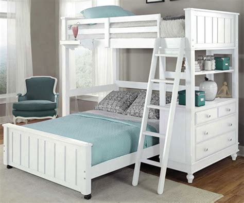 full size white bed 1040 twin size loft bed with full size lower bed lakehouse collection white finish