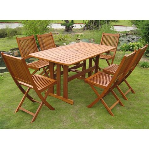 teak outdoor dining set 7 table chairs folding wood