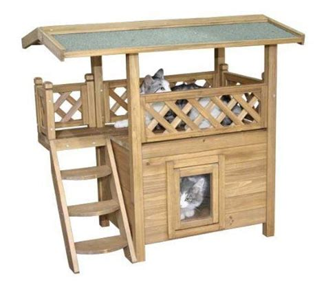 Outdoor Cat Furniture by Outdoor Cat House Shelter Large Wooden Play Condos