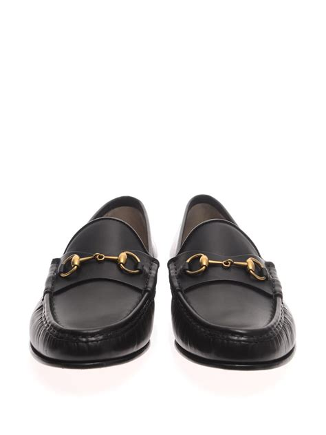 black gucci loafers lyst gucci leather horsebit loafers in black for
