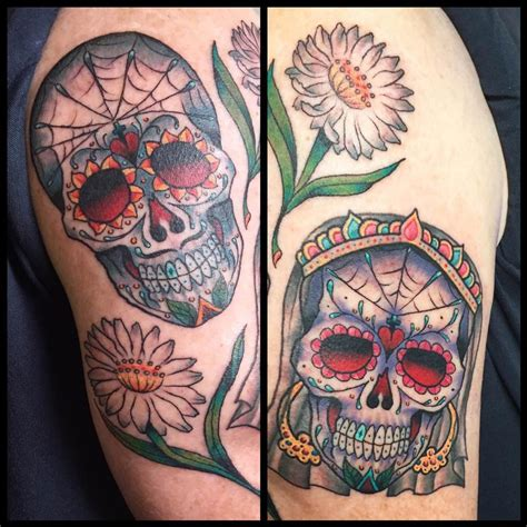 day of the dead couples tattoos american traditional day of the dead by