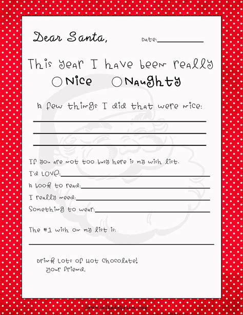 printable dear santa letter templates hd writing