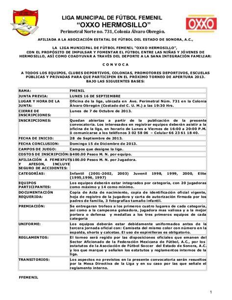 carta de recomendacion oxxo convocatoria liga futbol femenil oxxo apertura 2013
