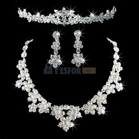 bridal wedding prom jewelry set rhinestone