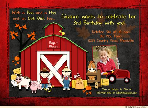 Farm Theme Wedding Invitations by Chalkboard Themed Farm Barnyard Birthday Invitations