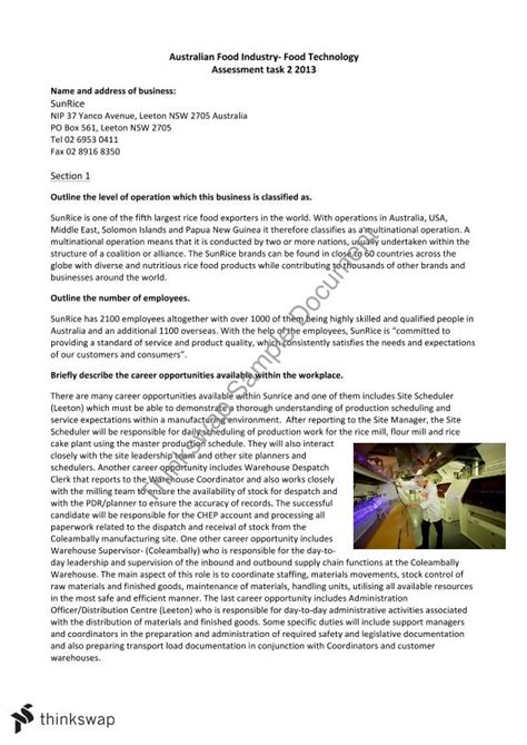 design brief hsc food technology australian food industry case study notes