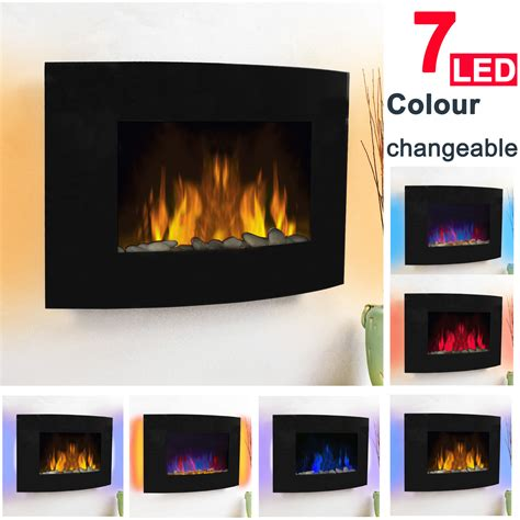 2kw led curved glass electric fireplace wall mounted fire