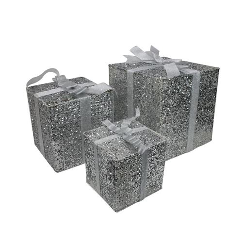 northlight 3 box outdoor set y76231 northlight set of 3 lighted silver glitter gift box outdoor decorations 15 in at lowes