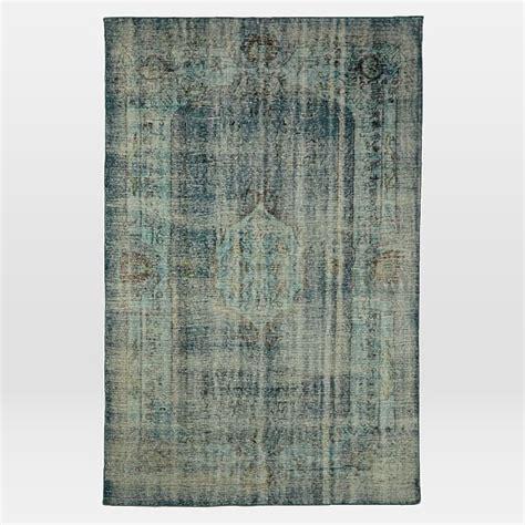 caspian rugs caspian distressed rug blue overdye west elm