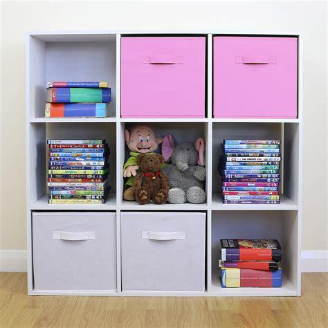 White Bookshelf With Drawers 9 Cube Kids Pink Amp White Toy Games Storage Unit Girls Boys