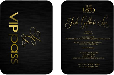 Id Vip Pass Final B Josh 18 Vip Birthday Invitations Templates Free