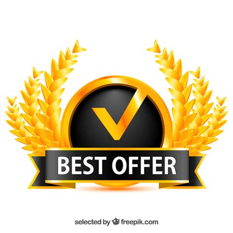 best free offers golden badge for best offer vector free