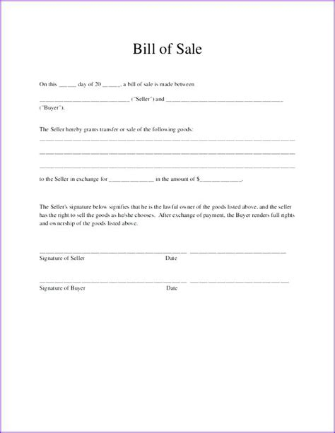 general bill of sale 10 free sample example format download
