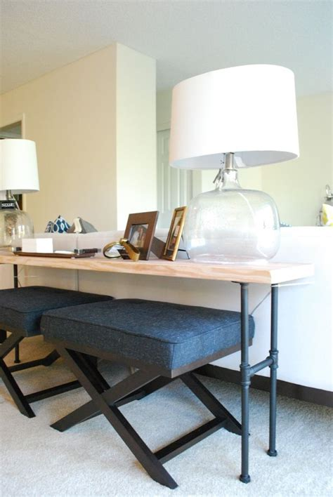 extra seating diy industrial sofa back table livingroom pinterest