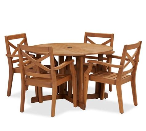 Drop Leaf Table And Chair Set Hstead Teak Drop Leaf Dining Table Chair Set Honey Pottery Barn