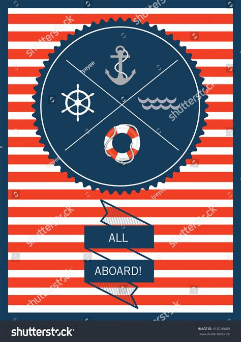 nautical card templates nautical invitation card template vectorillustration stock