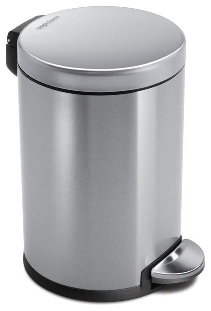 Simplehuman Bathroom Bin 4 5 Litre Step Can Fingerprint Proof Brushed Stainless Steel Modern Bins By Simplehuman
