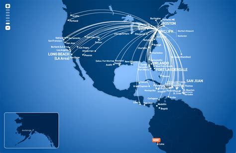 jetblue route map jetblue airways route map from new york jfk