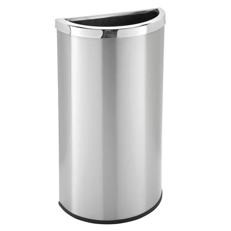 scow back waste containers 8 gallon stainless steel half round garbage can trash