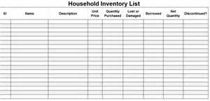House Contents List Template Printable Household Inventory List Template Sample