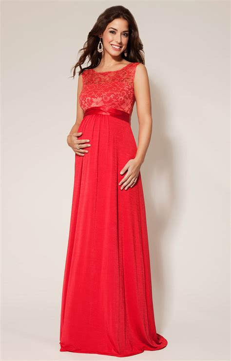 Valencia Maternity Gown Long Sunset Red   Maternity