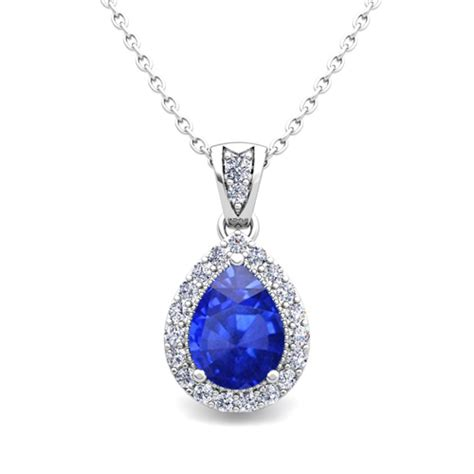 Halo Diamond and Pear Ceylon Sapphire Necklace 14k Gold