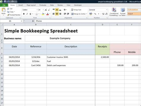 Simple Bookkeeping Spreadsheet « Double Entry Bookkeeping