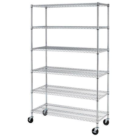 6 shelf commercial steel wire shelving rack w casters