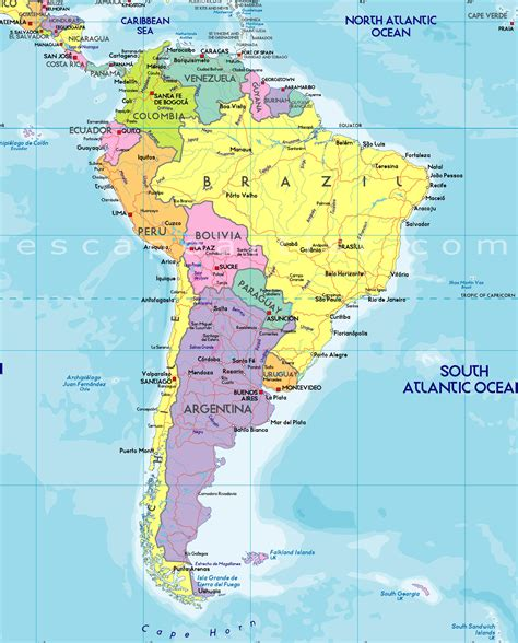 america map images south america map free large images