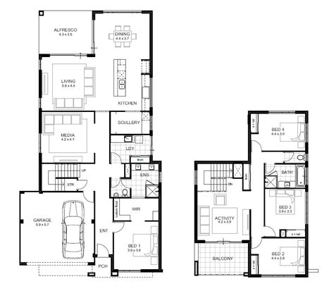 2 Floor House Plans Inspiring Two Storey Residential House Floor Plan In Home