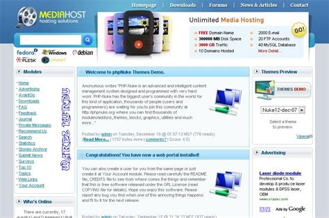 php nuke media hosting solution template