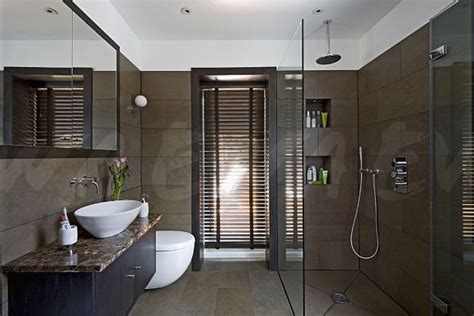 Modern Bathroom Brown Tiles Image Porcelain Wall Tiles In Modern Brown Bathroom With