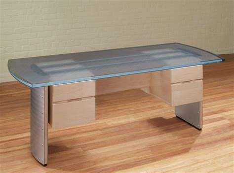 glass top desk modern glass top desk stoneline designs