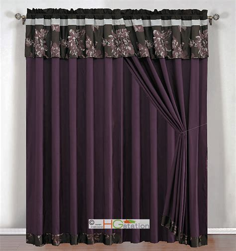 purple and gray curtains 4 pc jacquard floral striped curtain set purple black gray