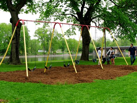 park swing set swingset at riverside park along the mohawk with new mulch