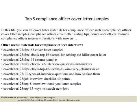 Compliance Cover Letter Top 5 Compliance Officer Cover Letter Sles
